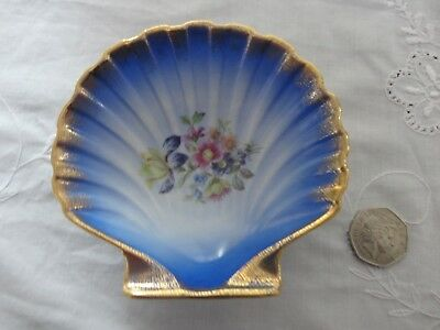Dresden China Scallop Shell Dish in blue.VGC