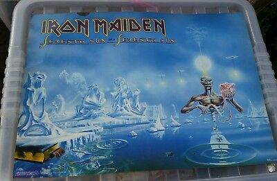Vintage Iron Maiden Large Postcard 42cm W 30cm L Blue 7th Son MARKED on FRONT