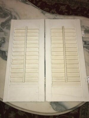 Vintage Wooden Shutters Louvered Shutter BiFold with Brass Fittings Antique