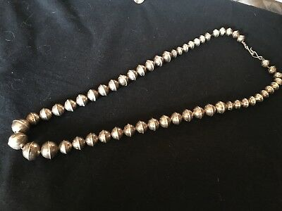 Vintage circa 1940 to 1960 sterling Navajo silver beads