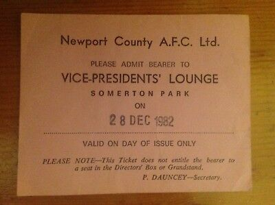 Newport County Vice Presidents Club Pass 28/12/1982