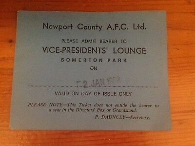 Newport County Vice Presidents Club Pass 2/1/82