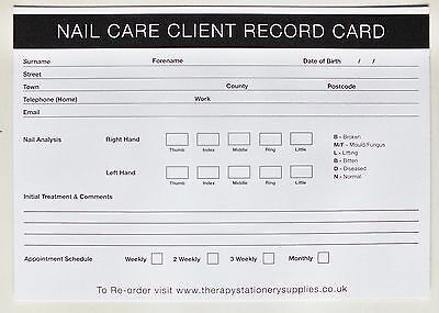 SALON - THERAPIST Nail Care Client Record Card (50 pack) A5 Size