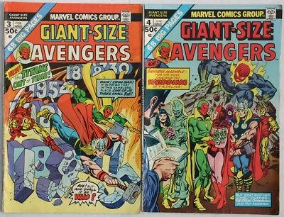 GIANT-SIZE AVENGERS #3 - #4 1975 - VG and FN