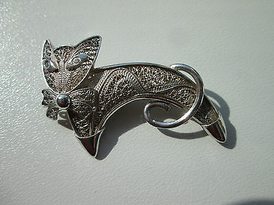 Rare & Beautiful Vintage Art Deco Continental Silver Filigree Cat Brooch Pin