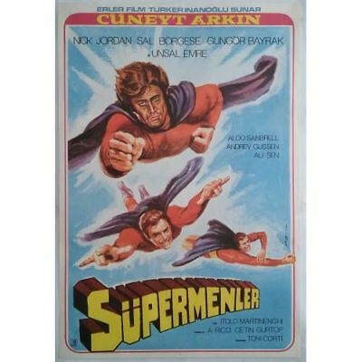 TURKISH SUPERMAN - 70's - ORIGINAL TURKISH MOVIE POSTER - MEGA RARE