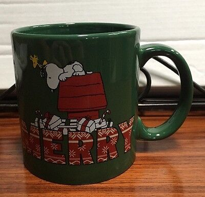 "Peanuts Snoopy Woodstock Coffee Mug ""Merry"" Christmas 2015 Large Size"