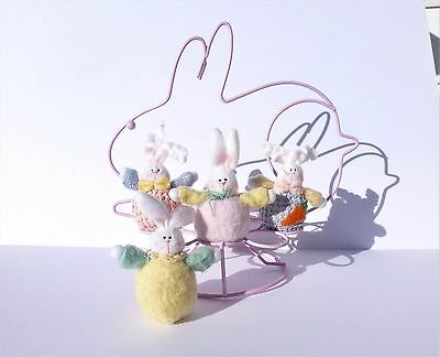 Pink Wire Bunny EASTER EGG HOLDER DISPLAY & 4 Mini Plush Easter Bunnies Rabbits