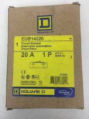 NEW IN BOX, Square D 20 AMP 1P EDB14020, 277 v VOLT~ CIRCUIT BREAKER - LOT E 71.