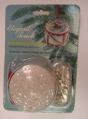 """Vintage Elegant Touch """"HOLIDAY DRUM""""  Pearl Bead Christmas Ornament Kit"""