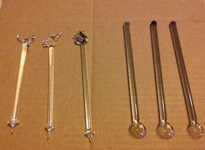 Vintage Lot Of 6- Glass Swizzle/Stir sticks~Some unique ones~