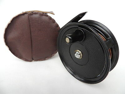 "Fine J.W. Young 3 1/4"" Condex Trout Fly Fishing Reel + Silk Line & Case."