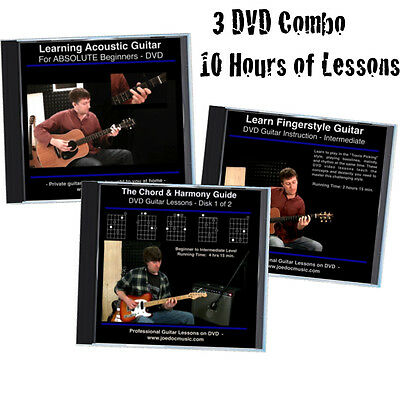 Learn to Play Guitar 3 DVD Set * Beginner To Intermediate Level * Guitar Lessons