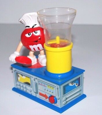 Vintage M & M Candy Dispenser Red Wearing Chef Hat / Rd