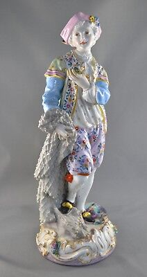 LARGE OLD ANTIQUE MEISSEN German PORCELAIN FIGURINE of a MAN SELLING FISH
