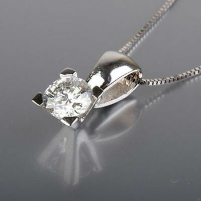 0.7 Carat Solitaire Round Diamond Necklace 14K White Gold Engagement Pendant Nwt