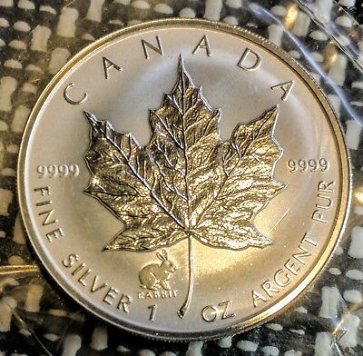 1999 Canada Five Dollars Silver frost proof Rabbit $5 Canadian Maple Leaf .9999