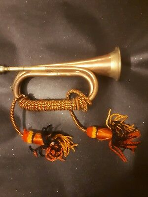 Vintage Brass Copper Bugle,Marching Band,Military,Tassells,Mouthpiece,Horn,Old
