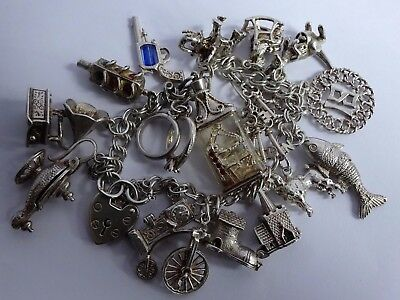 Stunning vintage solid silver charm bracelet & quality silver charms (many Nuvo)