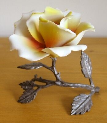 Vintage Capodimonte Italy Single Yellow/Orange Rose - Porcelain with Pewter Stem