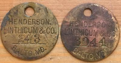 2 Antique Henderson Co. Brass Tag Linthicum Baltimore Md