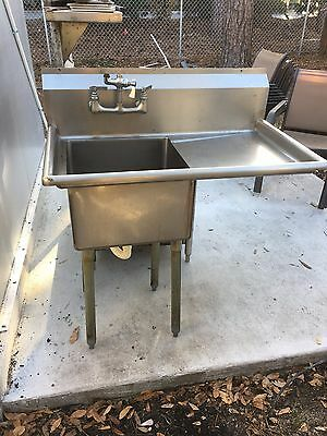 Single 18x18 Well Food Prep Sink with right Drainboard  Commercial