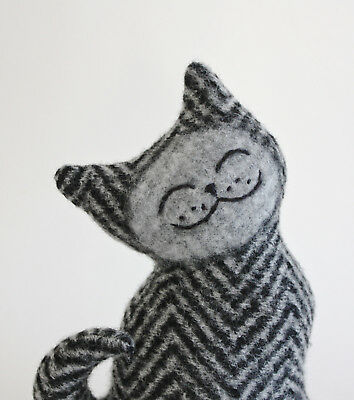 Wool Embroidery Collectible pet Tabby cat kitten animal handmade Marjji