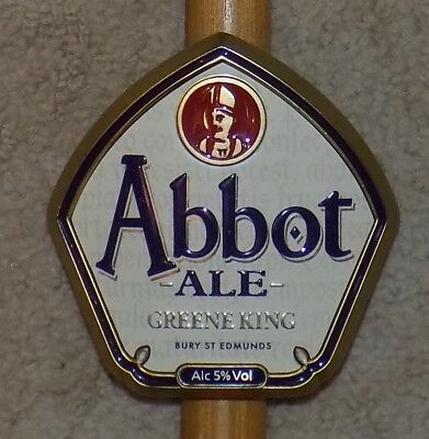 Greene King Abbot Ale real ale metal beer pump clip sign complete