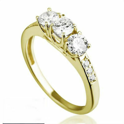 Vs 1.2 Ct Genuine Three Stones Real Diamonds 14K Yellow Gold Promise Bridal Ring