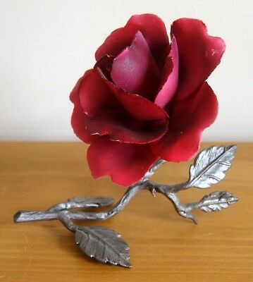 Vintage Capodimonte Italy Single Dark Pink/Red Rose - Porcelain with Pewter Stem