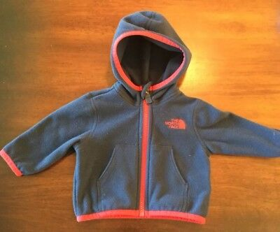 North Face Fleece Jacket Baby Infant 0-3 Months Navy & Red Washed never worn