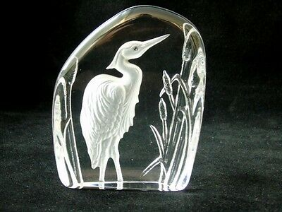 Vintage Wedgwood Art Glass Crystal Etched Heron Paperweight