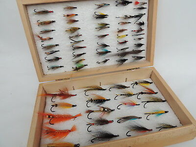 Wooden Fly Fishing Box + 66 Single & Double Hook Salmon Flies.