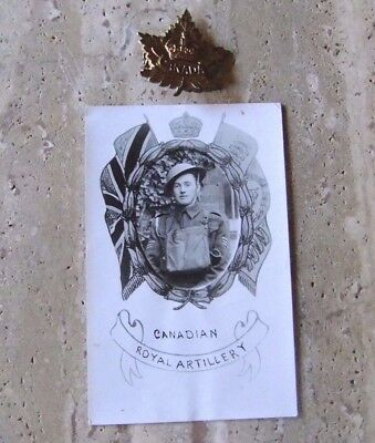 WWI (1914-1918) Canadian Royal Artillery Brass Badge and Picture Postcard