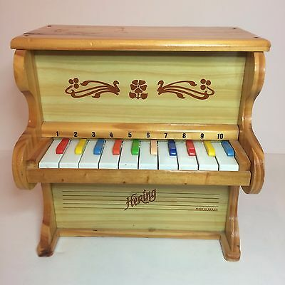 Hering Mini Brown Wood Piano For Kids - Colored & Numbered Keys - Made In Brazil