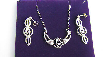 Carrick Charles Rennie Macintosh 925 Sterling Silver Necklace and Earrings Set