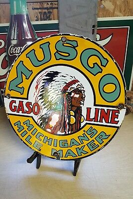 MUSGO GASOLINE porcelain sign vintage gas pump plate INDIAN CHIEF oil