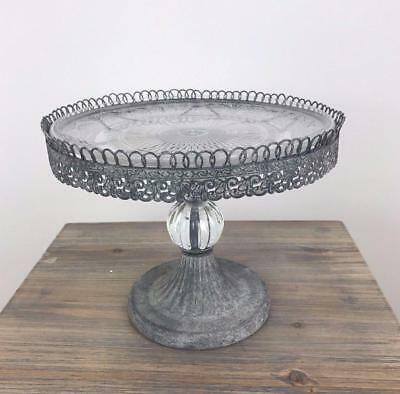 Single Tier Cake Stand - Vintage Style Metal Filigree & Glass Traditional Design