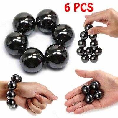 6x Hematite Magnetic Stones Polished Magnetic Balls For Scinence Intelligence