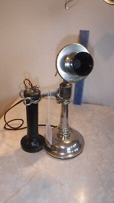1899 Western Electric #10 tapered shaft desk stand, long pole, 7 digit faceplate