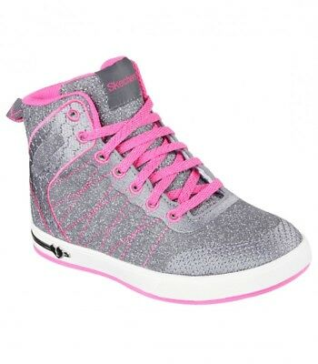 New Youth Skechers Shoutouts Glitzy Shoes Style 84304L Gray/Hot Pink 126Q tr