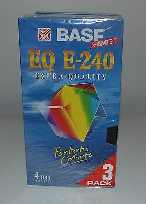 New Sealed BASF EQ E-240 VHS blank video tapes (3 pack)