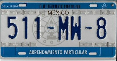 Mexico  License  Plate   51 - MW - 8   Very Good  Condition