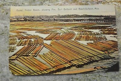 Burns' Timber Boom showing Pier East Gulfport & Beach Mississippi postcard 1909