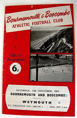 Bournemouth v Weymouth 1965/66 FA. Cup R1. Programme.