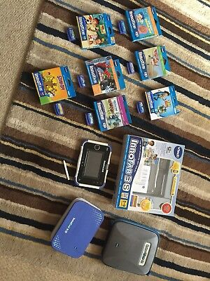 Blue Vtech Innotab 3S Kids Tablet With 7 Games, Protective Cover and Case!