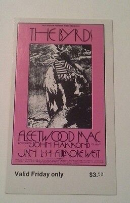Bg#210 Byrds Fillmore Concert Ticket