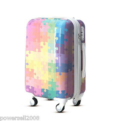 "28"" New TSA Lock Universal Wheel Puzzle Print ABS+PC Travel Suitcase Luggage"