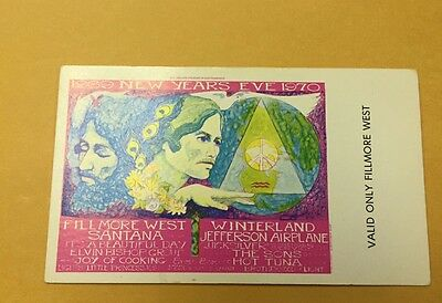 Santana, Jefferson Airplane 1969 New Years Eve Fillmore Winterland Ticket