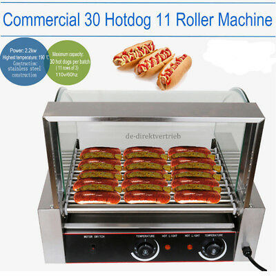 2200w Commercial 30 Hot Dog 11 Roller Grill Stainless Steel Cooker Machine
